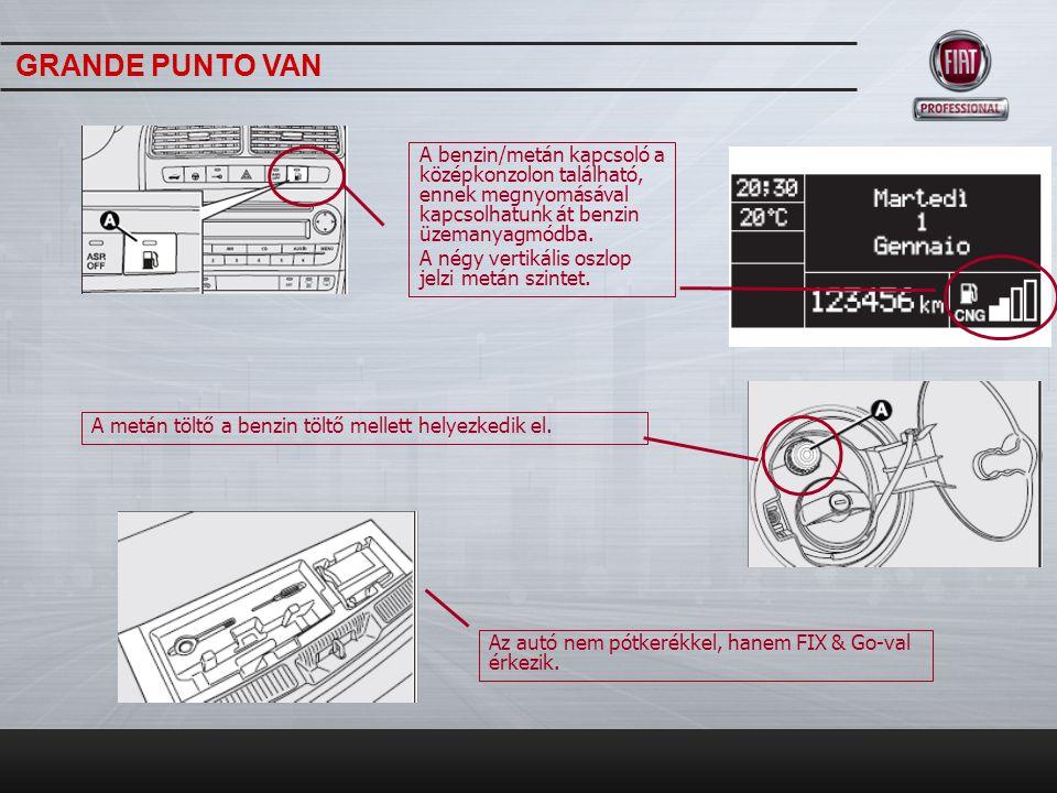 TeljesítményGrande Punto Van CNG Hengerűrtartalom1368 cm 3 Maximális teljesítmény: KW (LE) ford./perc57 (77) 6000 51 (70) 6000 * Maximális nyomaték Nm ford./ perc115 Nm 3000 104 Nm 3000* Maximális sebesség162/156* Üzemanyagfogyasztás (Kombinált)6,3 l /100 Km 4,2 Kg /100 Km* Hatótávolság (Kombinált)310 Km* CO2 kibocsátás149 g/Km 115g/Km* Üzemanyagtartály45 l/13 Kg* * CNG GRANDE PUNTO VAN
