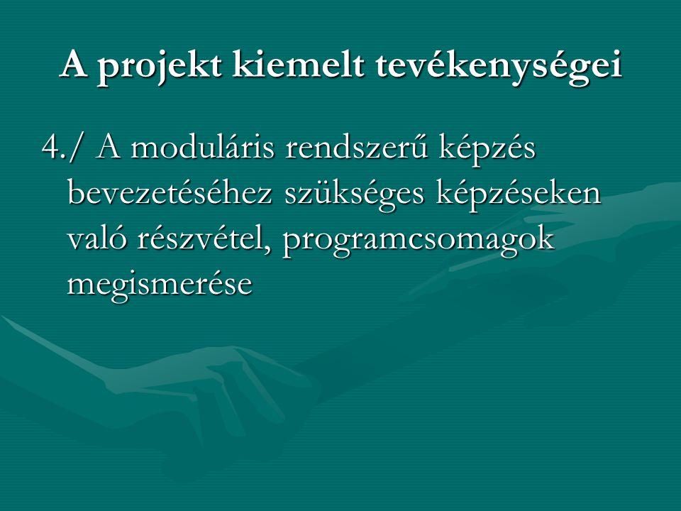 A projekt kiemelt tevékenységei 4./ A moduláris rendszerű képzés bevezetéséhez szükséges képzéseken való részvétel, programcsomagok megismerése