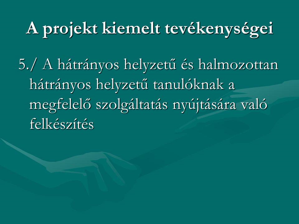 A projekt kiemelt tevékenységei 5./ A hátrányos helyzetű és halmozottan hátrányos helyzetű tanulóknak a megfelelő szolgáltatás nyújtására való felkészítés