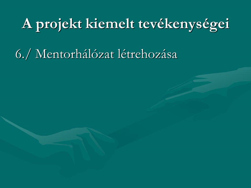 A projekt kiemelt tevékenységei 6./ Mentorhálózat létrehozása