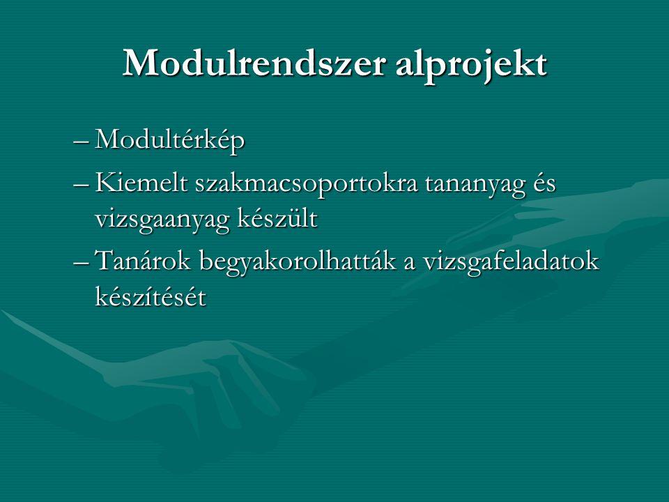 Modulrendszer alprojekt –Modultérkép –Kiemelt szakmacsoportokra tananyag és vizsgaanyag készült –Tanárok begyakorolhatták a vizsgafeladatok készítését