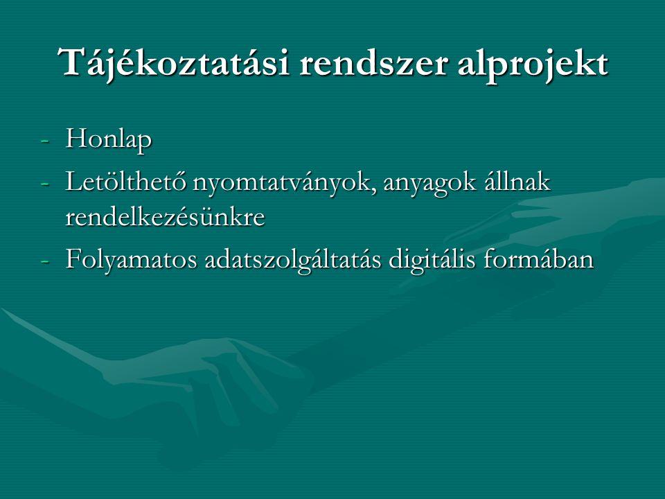 Tájékoztatási rendszer alprojekt -Honlap -Letölthető nyomtatványok, anyagok állnak rendelkezésünkre -Folyamatos adatszolgáltatás digitális formában