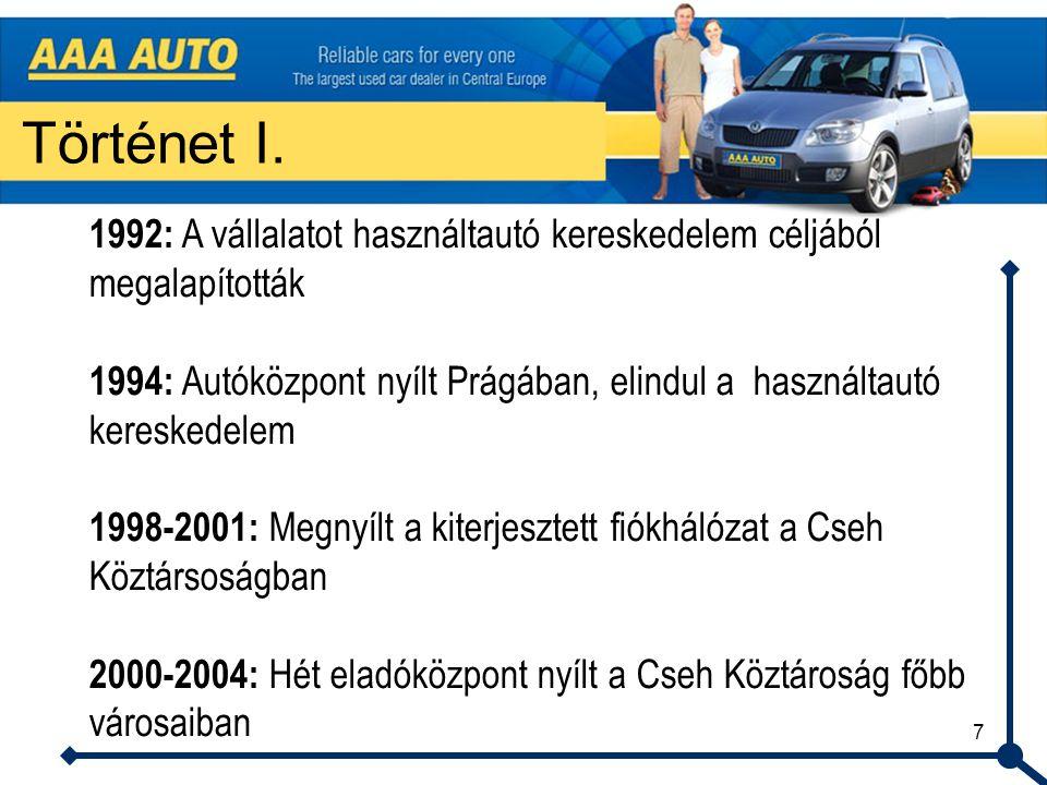7 Történet I. 1992: A vállalatot használtautó kereskedelem céljából megalapították 1994: Autóközpont nyílt Prágában, elindul a használtautó kereskedel