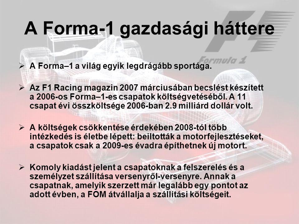 A Forma-1 gazdasági háttere  A Forma–1 a világ egyik legdrágább sportága.  Az F1 Racing magazin 2007 márciusában becslést készített a 2006-os Forma–