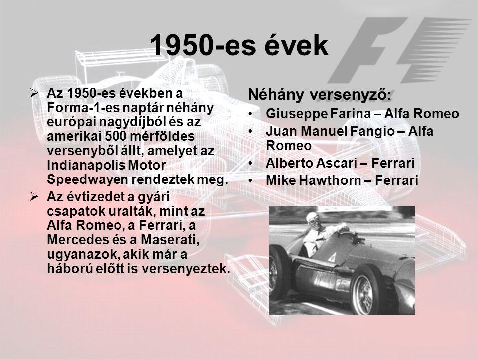 1950-es évek  Az 1950-es években a Forma-1-es naptár néhány európai nagydíjból és az amerikai 500 mérföldes versenyből állt, amelyet az Indianapolis