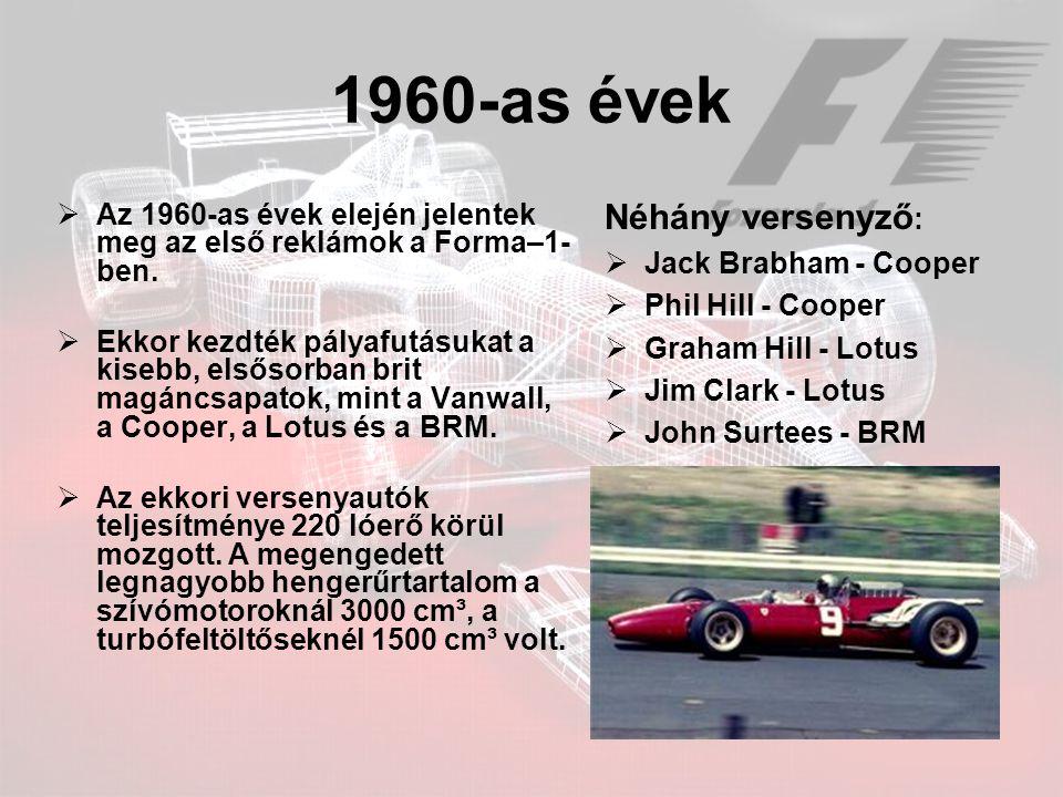 1960-as évek  Az 1960-as évek elején jelentek meg az első reklámok a Forma–1- ben.  Ekkor kezdték pályafutásukat a kisebb, elsősorban brit magáncsap