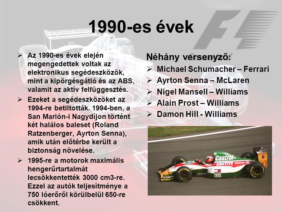 2000-es évek  Ebben az évtizedben Michael Schumacher és a Ferrari eddig példátlan módon, öt egymást követő évben győzött.