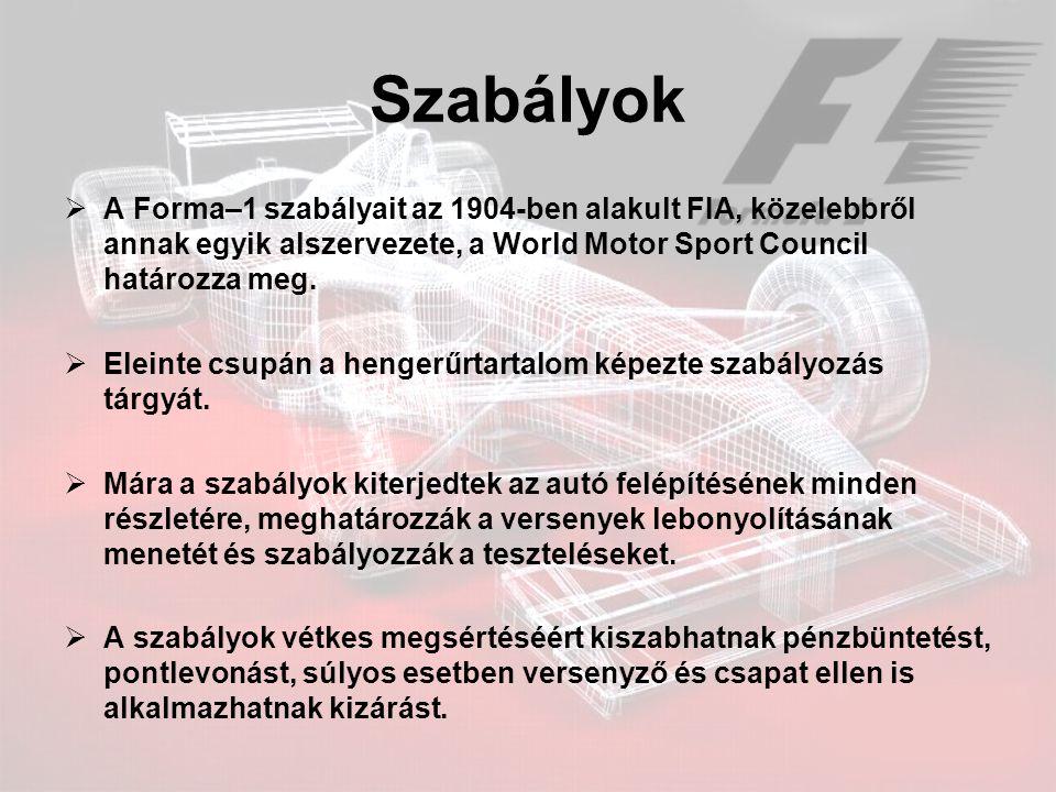Szabályok  A Forma–1 szabályait az 1904-ben alakult FIA, közelebbről annak egyik alszervezete, a World Motor Sport Council határozza meg.  Eleinte c