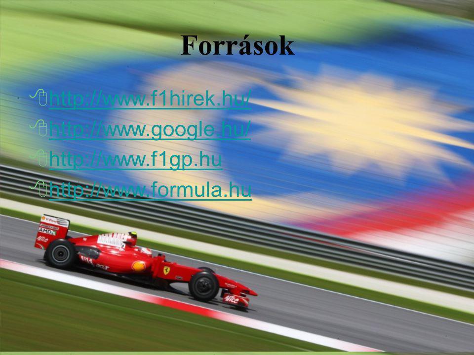 Források  http://www.f1hirek.hu/ http://www.f1hirek.hu/  http://www.google.hu/ http://www.google.hu/  http://www.f1gp.hu http://www.f1gp.hu  http://www.formula.hu http://www.formula.hu