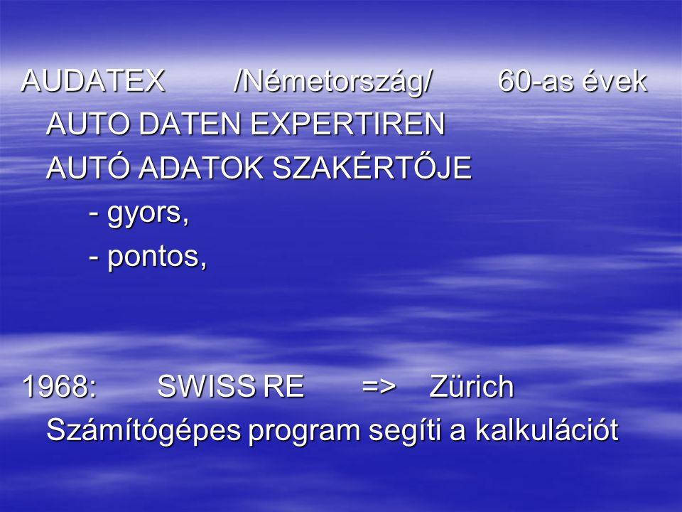 AUDATEX /Németország/60-as évek AUTO DATEN EXPERTIREN AUTÓ ADATOK SZAKÉRTŐJE - gyors, - pontos, 1968:SWISS RE=>Zürich Számítógépes program segíti a kalkulációt