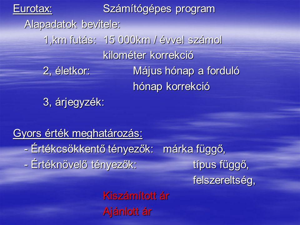 Eurotax:Számítógépes program Alapadatok bevitele: 1,km futás: 15 000km / évvel számol kilométer korrekció 2, életkor:Május hónap a forduló hónap korrekció 3, árjegyzék: Gyors érték meghatározás: - Értékcsökkentő tényezők:márka függő, - Értéknövelő tényezők:típus függő, felszereltség, Kiszámított ár Ajánlott ár