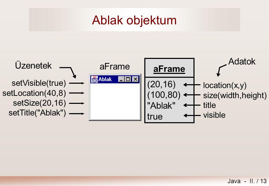 Java - II. / 13 Ablak objektum aFrame (20,16) (100,80)
