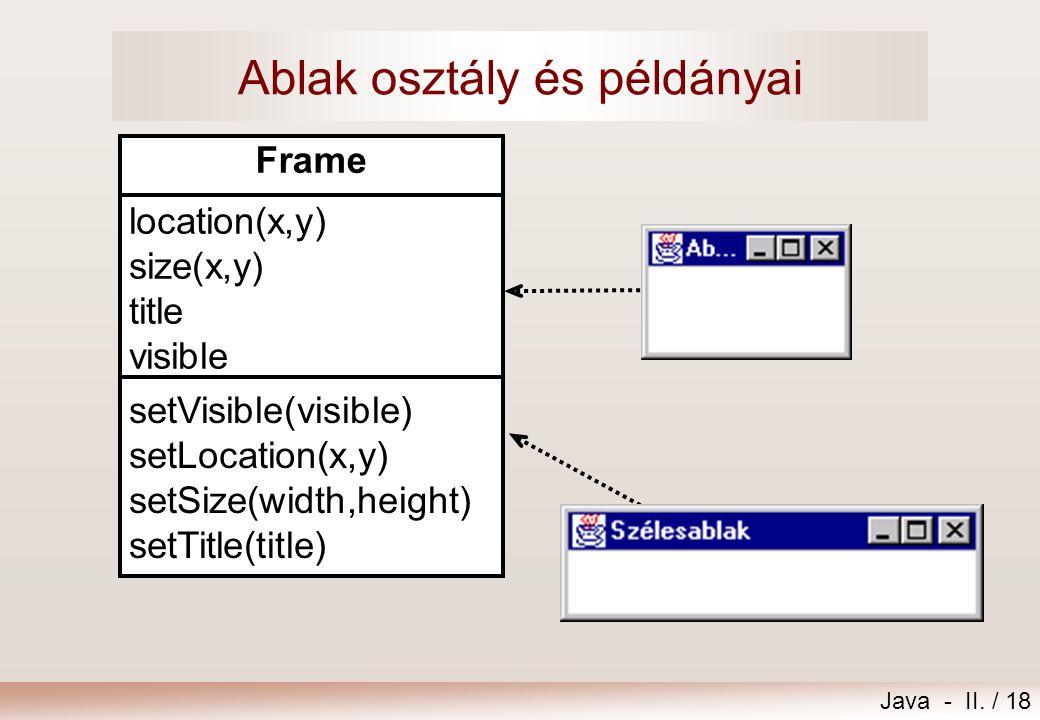 Java - II. / 18 Ablak osztály és példányai location(x,y) size(x,y) title visible setVisible(visible) setLocation(x,y) setSize(width,height) setTitle(t
