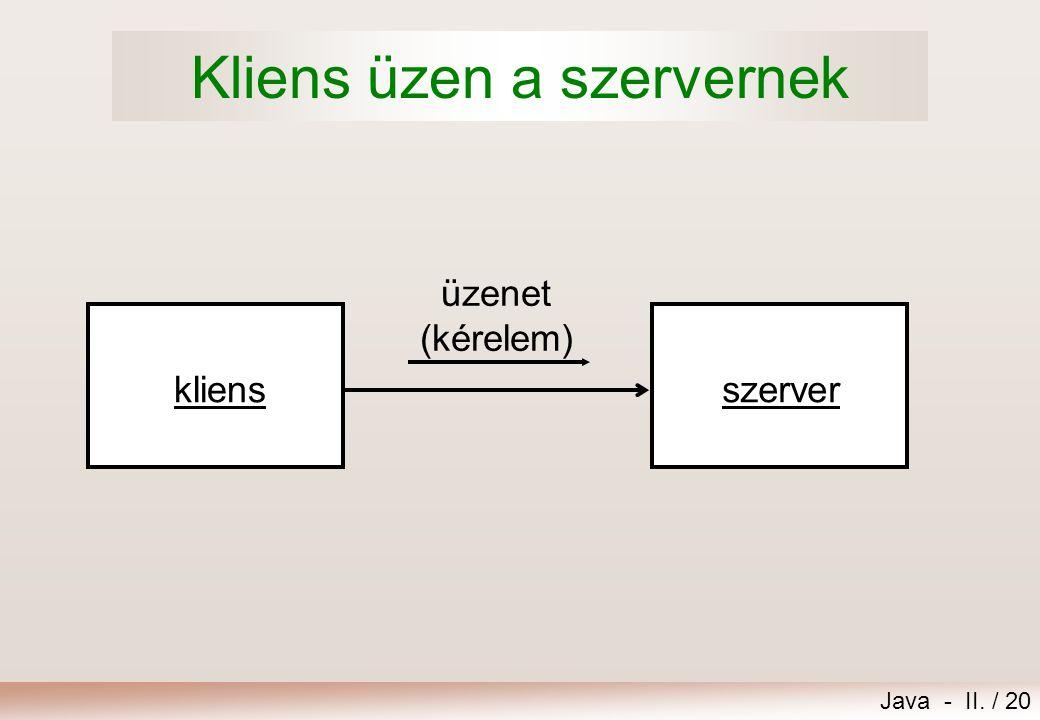 Java - II. / 20 Kliens üzen a szervernek üzenet (kérelem) szerverkliens