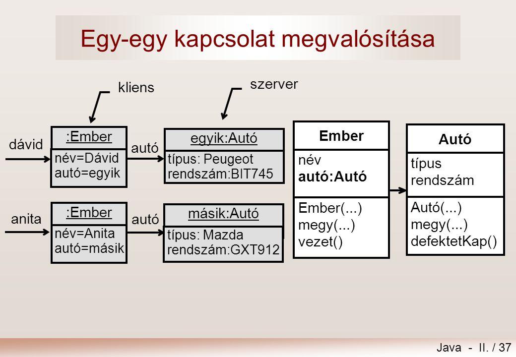 Java - II. / 37 kliens szerver másik:Autó típus: Mazda rendszám:GXT912 egyik:Autó típus: Peugeot rendszám:BIT745 autó :Ember név=Dávid autó=egyik :Emb