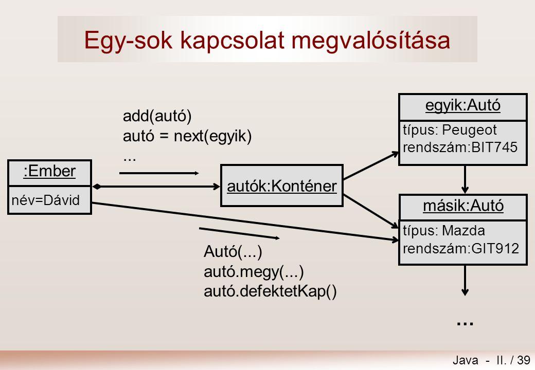 Java - II. / 39 Egy-sok kapcsolat megvalósítása másik:Autó típus: Mazda rendszám:GIT912 egyik:Autó típus: Peugeot rendszám:BIT745 :Ember név=Dávid aut