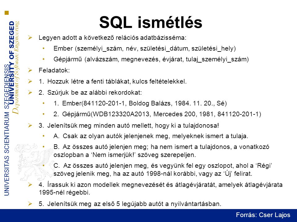 UNIVERSITY OF SZEGED D epartment of Software Engineering UNIVERSITAS SCIENTIARUM SZEGEDIENSIS SQL ismétlés  Legyen adott a következő relációs adatbázisséma: •Ember (személyi_szám, név, születési_dátum, születési_hely) •Gépjármű (alvázszám, megnevezés, évjárat, tulaj_személyi_szám)  Feladatok:  1.