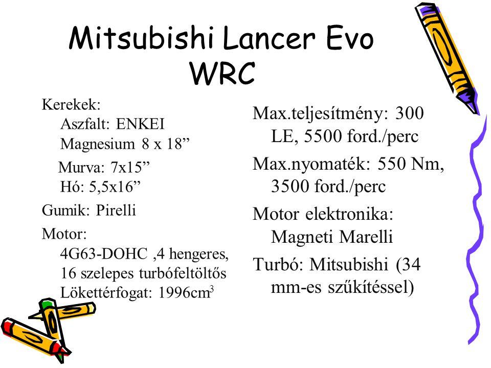 """Mitsubishi Lancer Evo WRC Kerekek: Aszfalt: ENKEI Magnesium 8 x 18"""" Murva: 7x15"""" Hó: 5,5x16"""" Gumik: Pirelli Motor: 4G63-DOHC,4 hengeres, 16 szelepes t"""