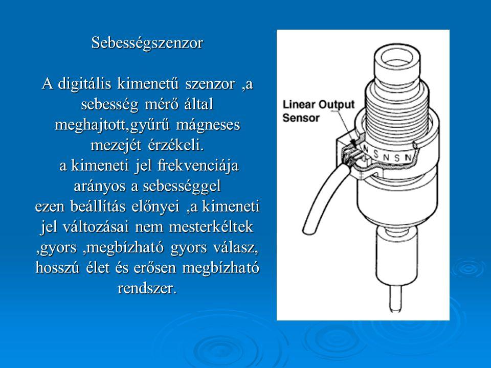 Sebességszenzor A digitális kimenetű szenzor,a sebesség mérő által meghajtott,gyűrű mágneses mezejét érzékeli.