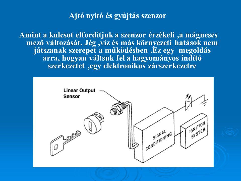 Ajtó nyitó és gyújtás szenzor Amint a kulcsot elfordítjuk a szenzor érzékeli,a mágneses mező változását.