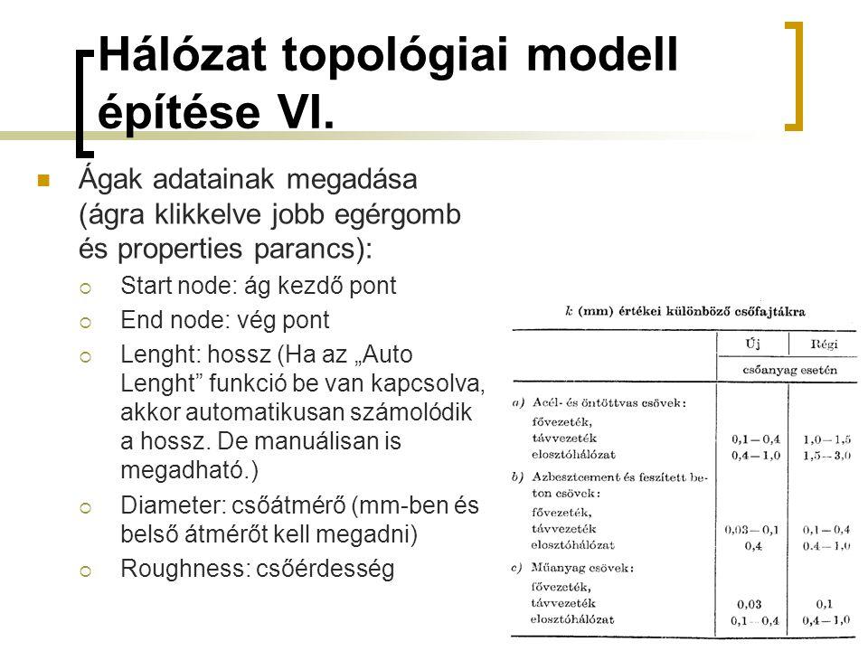 Hálózat topológiai modell építése VI.  Ágak adatainak megadása (ágra klikkelve jobb egérgomb és properties parancs):  Start node: ág kezdő pont  En