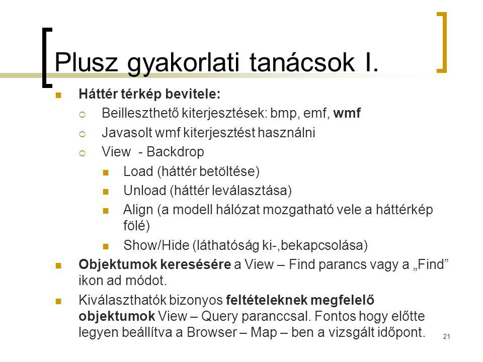 Plusz gyakorlati tanácsok I.  Háttér térkép bevitele:  Beilleszthető kiterjesztések: bmp, emf, wmf  Javasolt wmf kiterjesztést használni  View - B