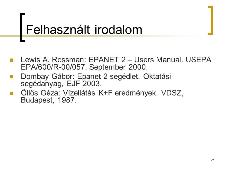 25 Felhasznált irodalom  Lewis A. Rossman: EPANET 2 – Users Manual. USEPA EPA/600/R-00/057. September 2000.  Dombay Gábor: Epanet 2 segédlet. Oktatá
