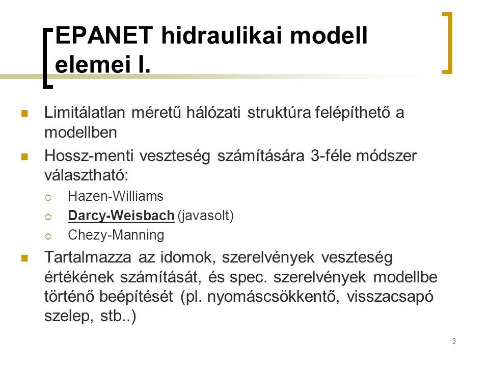 EPANET hidraulikai modell elemei I.  Limitálatlan méretű hálózati struktúra felépíthető a modellben  Hossz-menti veszteség számítására 3-féle módsze