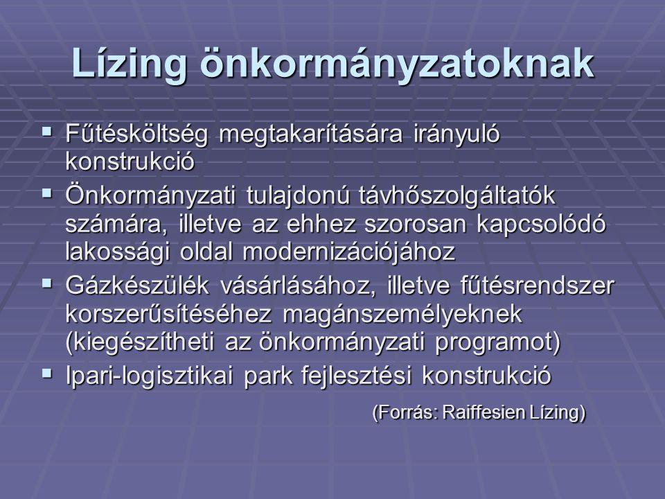 Lízing önkormányzatoknak  Fűtésköltség megtakarítására irányuló konstrukció  Önkormányzati tulajdonú távhőszolgáltatók számára, illetve az ehhez szorosan kapcsolódó lakossági oldal modernizációjához  Gázkészülék vásárlásához, illetve fűtésrendszer korszerűsítéséhez magánszemélyeknek (kiegészítheti az önkormányzati programot)  Ipari-logisztikai park fejlesztési konstrukció (Forrás: Raiffesien Lízing)