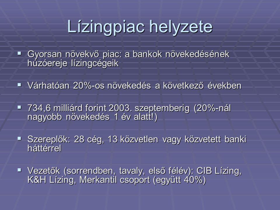 Lízingpiac helyzete  Gyorsan növekvő piac: a bankok növekedésének húzóereje lízingcégeik  Várhatóan 20%-os növekedés a következő években  734,6 milliárd forint 2003.