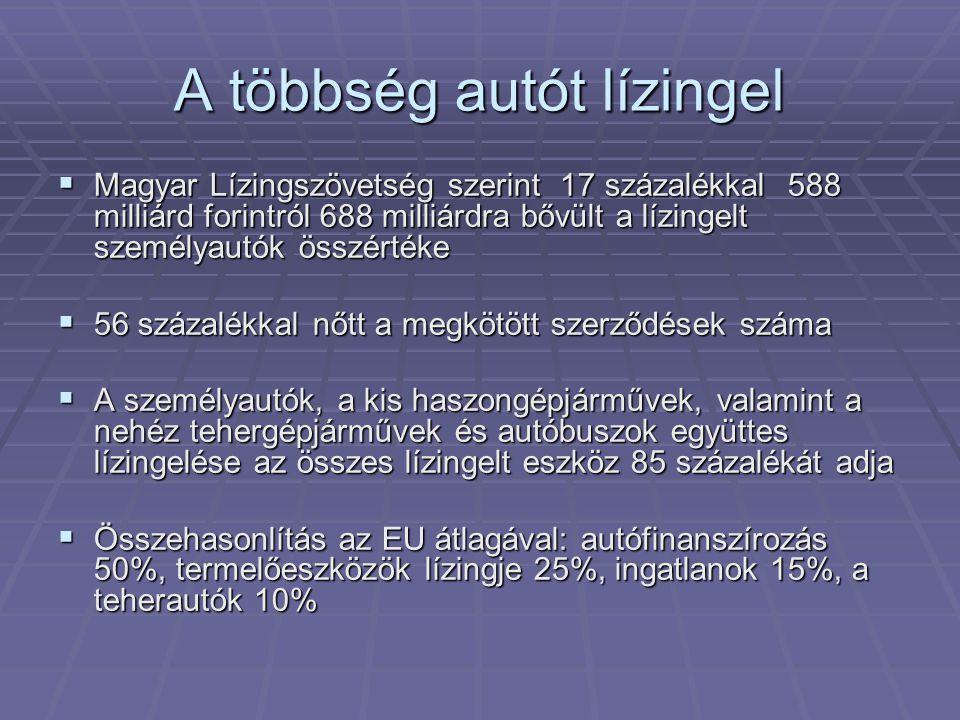A többség autót lízingel  Magyar Lízingszövetség szerint 17 százalékkal 588 milliárd forintról 688 milliárdra bővült a lízingelt személyautók összértéke  56 százalékkal nőtt a megkötött szerződések száma  A személyautók, a kis haszongépjárművek, valamint a nehéz tehergépjárművek és autóbuszok együttes lízingelése az összes lízingelt eszköz 85 százalékát adja  Összehasonlítás az EU átlagával: autófinanszírozás 50%, termelőeszközök lízingje 25%, ingatlanok 15%, a teherautók 10%