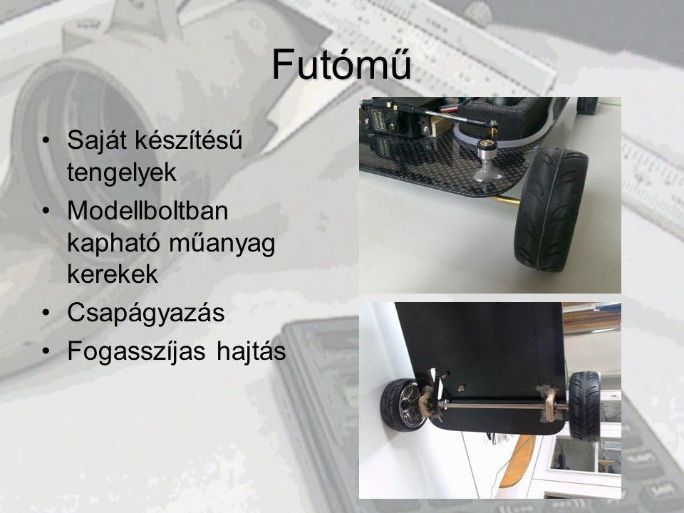 Futómű •Saját készítésű tengelyek •Modellboltban kapható műanyag kerekek •Csapágyazás •Fogasszíjas hajtás