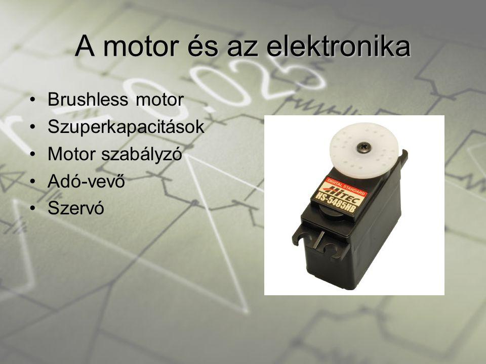 •Brushless motor •Szuperkapacitások •Motor szabályzó •Adó-vevő •Szervó A motor és az elektronika