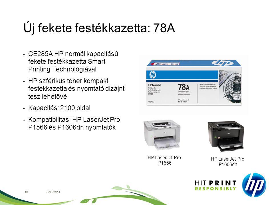 Új fekete festékkazetta: 78A 166/30/2014 • CE285A HP normál kapacitású fekete festékkazetta Smart Printing Technológiával • HP szférikus toner kompakt