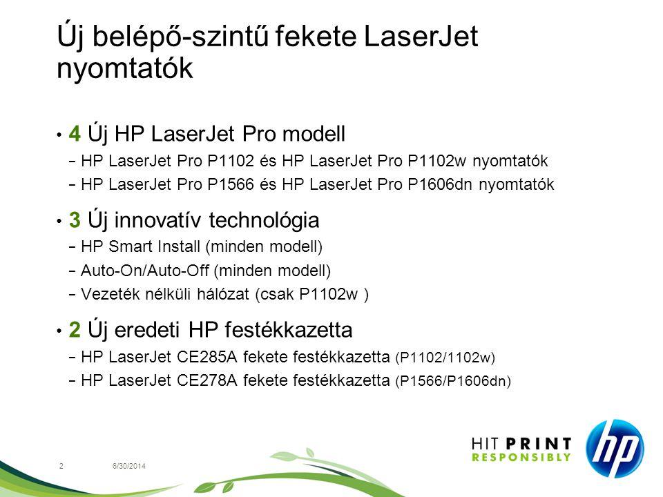 Új belépő-szintű fekete LaserJet nyomtatók • 4 Új HP LaserJet Pro modell − HP LaserJet Pro P1102 és HP LaserJet Pro P1102w nyomtatók − HP LaserJet Pro