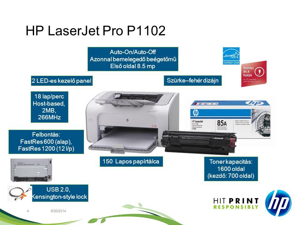 HP LaserJet Pro P1102 46/30/2014 2 LED-es kezelő panel Felbontás: FastRes 600 (alap), FastRes 1200 (12 l/p) Szürke–fehér dizájn USB 2.0, Kensington-st