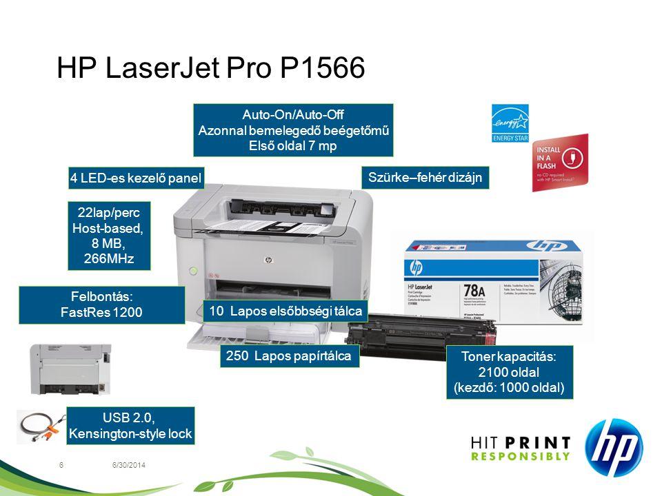 HP LaserJet Pro P1566 66/30/2014 4 LED-es kezelő panel Felbontás: FastRes 1200 Szürke–fehér dizájn USB 2.0, Kensington-style lock Toner kapacitás: 210