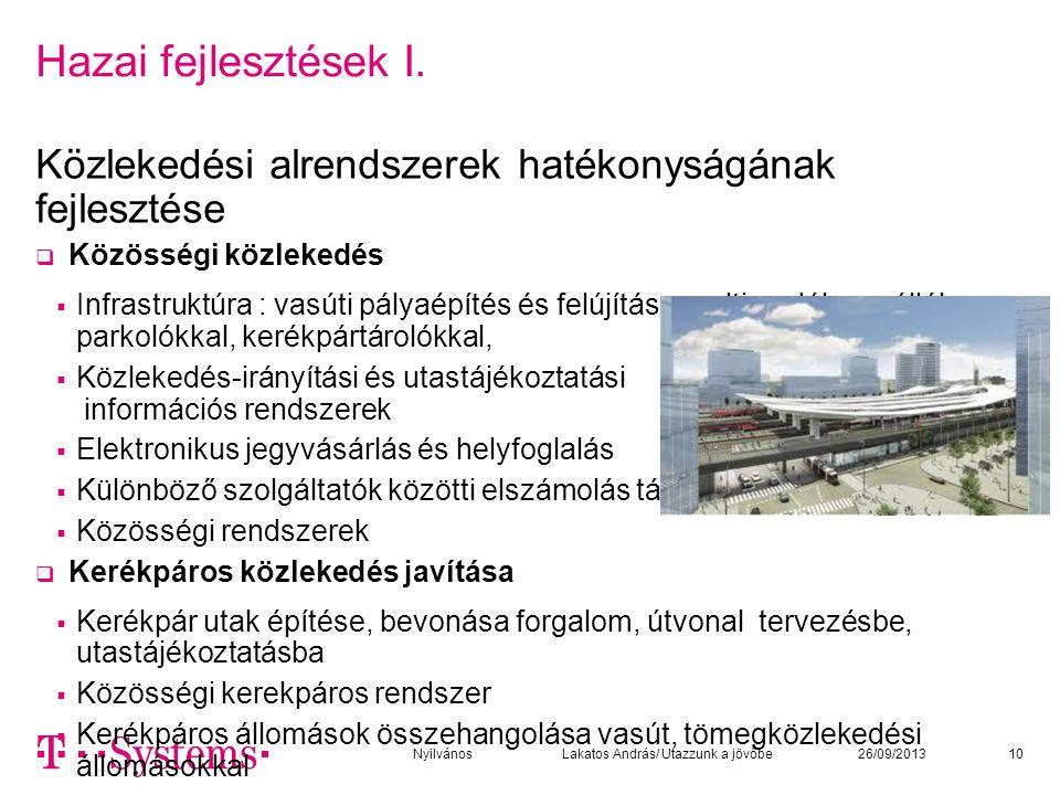 Hazai fejlesztések I. Közlekedési alrendszerek hatékonyságának fejlesztése  Közösségi közlekedés  Infrastruktúra : vasúti pályaépítés és felújítás,