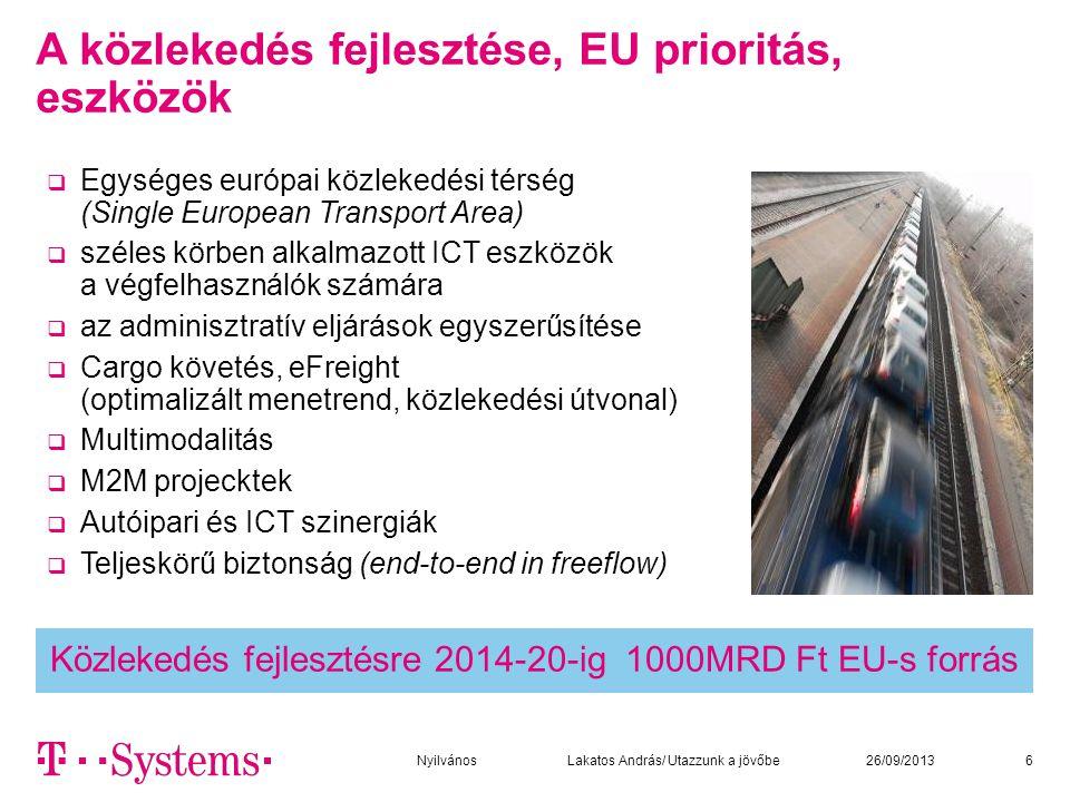 Közlekedés fejlesztésre 2014-20-ig 1000MRD Ft EU-s forrás A közlekedés fejlesztése, EU prioritás, eszközök  Egységes európai közlekedési térség (Single European Transport Area)  széles körben alkalmazott ICT eszközök a végfelhasználók számára  az adminisztratív eljárások egyszerűsítése  Cargo követés, eFreight (optimalizált menetrend, közlekedési útvonal)  Multimodalitás  M2M projecktek  Autóipari és ICT szinergiák  Teljeskörű biztonság (end-to-end in freeflow) 626/09/2013Nyilvános Lakatos András/ Utazzunk a jövőbe