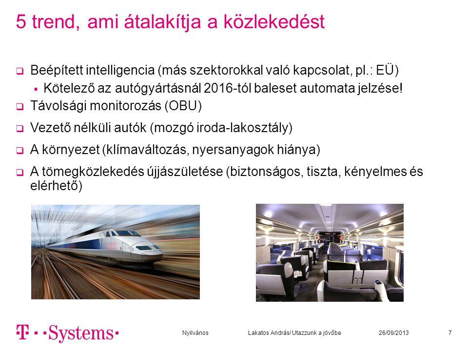 Fő fejlesztési irányok  Alternatív közlekedési módok (alrendszerek) fejlesztése  Irányító, tájékoztató, foglaló, vásárló, közösségi rendszerekkel integráltan  Minden szereplő az informatikai hálózathoz kapcsolódik fix és mobil eszközökkel  Közösségi közlekedés vasút, villamos, troli, földalatti, busz - egységes  Kerékpár – közösségi rendszerek  Gyalogos + mozgójárda  Személyautó és egyéb járművek osztott használata – a használati szokások átalakítása  Több ember használ kevesebb autót:  Autó klubok (teleautó)  Autómegosztó rendszerek a kerekpár megosztó rendszerek mintájára 826/09/2013Nyilvános Lakatos András/ Utazzunk a jövőbe