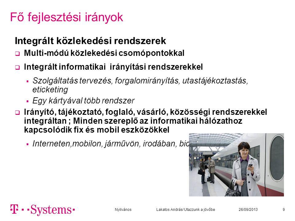 Fő fejlesztési irányok Integrált közlekedési rendszerek  Multi-módú közlekedési csomópontokkal  Integrált informatikai irányítási rendszerekkel  Sz