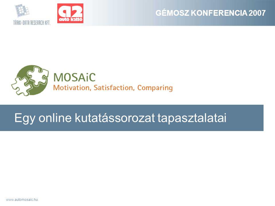 www.automosaic.hu GÉMOSZ KONFERENCIA 2007 Egy online kutatássorozat tapasztalatai