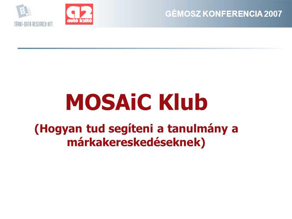 GÉMOSZ KONFERENCIA 2007 MOSAiC Klub (Hogyan tud segíteni a tanulmány a márkakereskedéseknek)
