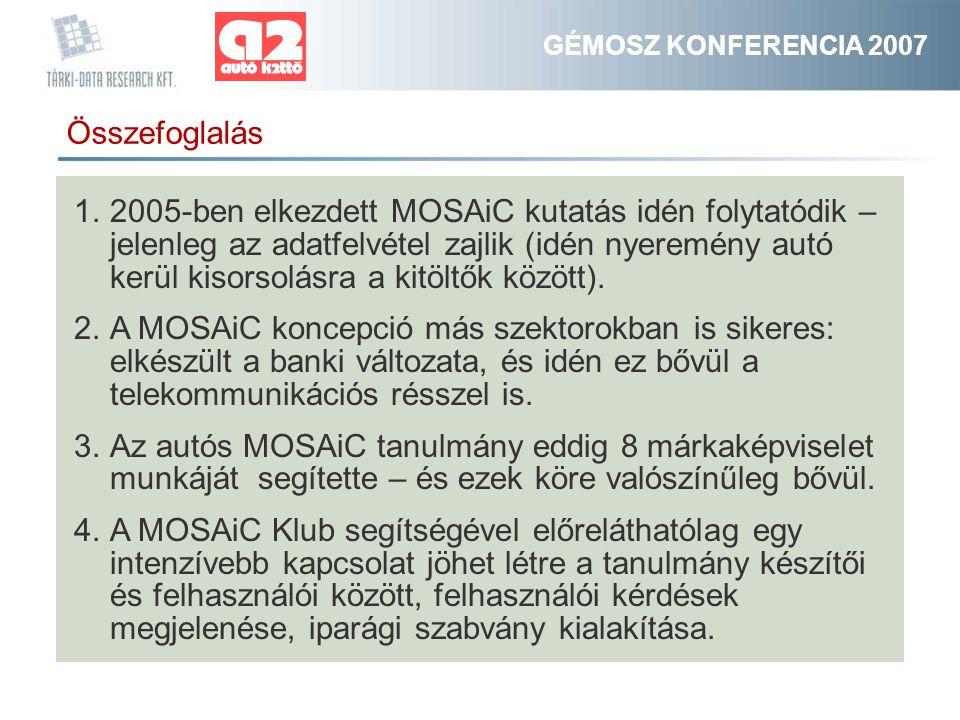 GÉMOSZ KONFERENCIA 2007 Összefoglalás 1.2005-ben elkezdett MOSAiC kutatás idén folytatódik – jelenleg az adatfelvétel zajlik (idén nyeremény autó kerül kisorsolásra a kitöltők között).
