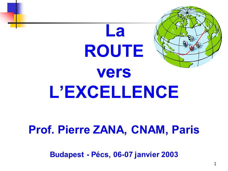 1 La ROUTE vers L'EXCELLENCE Prof. Pierre ZANA, CNAM, Paris Budapest - Pécs, 06-07 janvier 2003
