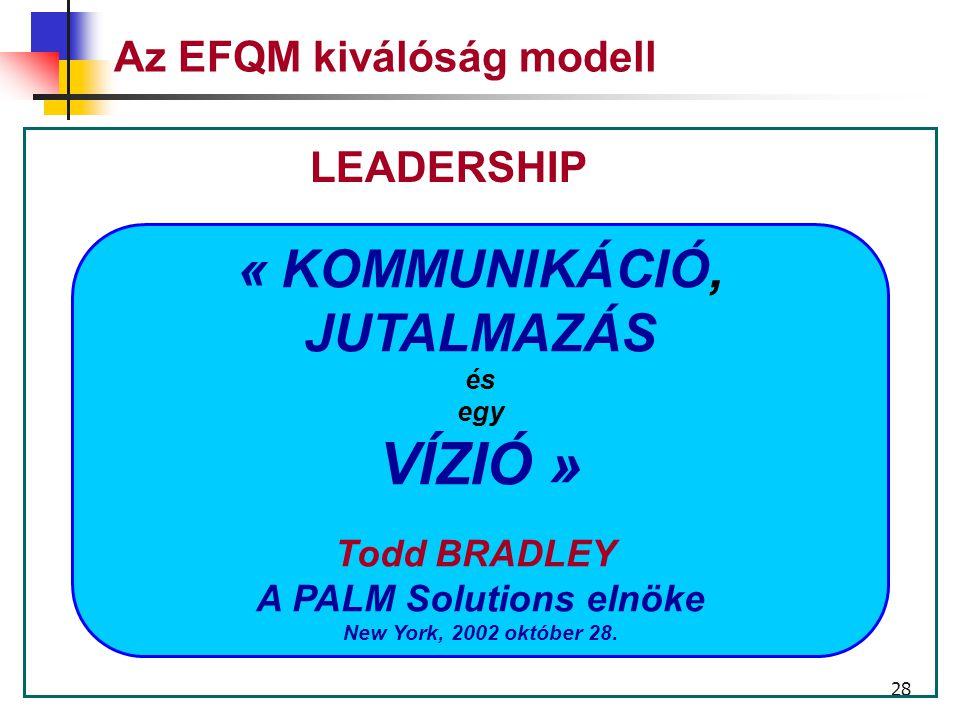 27 Az EFQM kiválósági modell Vezetés Személyzet Politika és stratégia Partneri kapcsolatok És források Folyamatok A személyzetre vonatkozó eredmények Az ügyfelekre vonatkozó eredmények A közösségre vonatkozó eredmény Eredmények és kulcs indikátorok TÉNYEZŐK ADOTTSÁGOK EREDMÉNYEK INNOVÁCIÓ ÉS TANULÁS