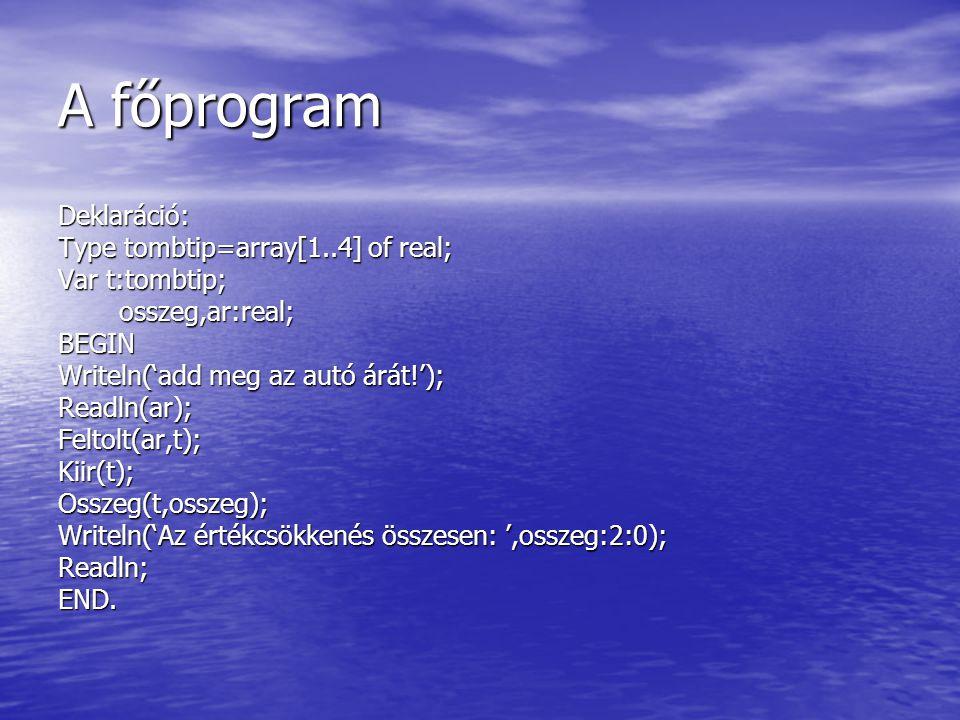 A főprogram Deklaráció: Type tombtip=array[1..4] of real; Var t:tombtip; osszeg,ar:real; osszeg,ar:real;BEGIN Writeln('add meg az autó árát!'); Readln