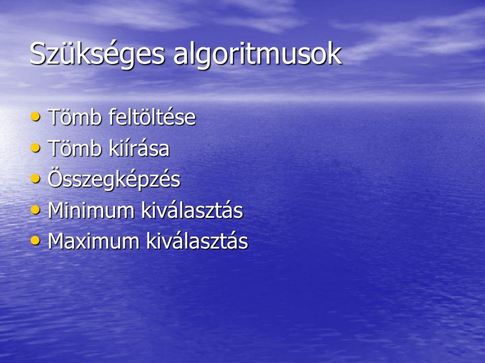 Szükséges algoritmusok • Tömb feltöltése • Tömb kiírása • Összegképzés • Minimum kiválasztás • Maximum kiválasztás
