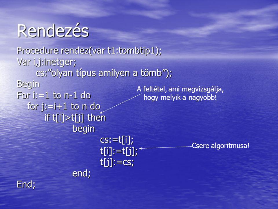 """Rendezés Procedure rendez(var t1:tombtip1); Var i,j:inetger; cs:""""olyan típus amilyen a tömb""""); cs:""""olyan típus amilyen a tömb"""");Begin For i:=1 to n-1"""