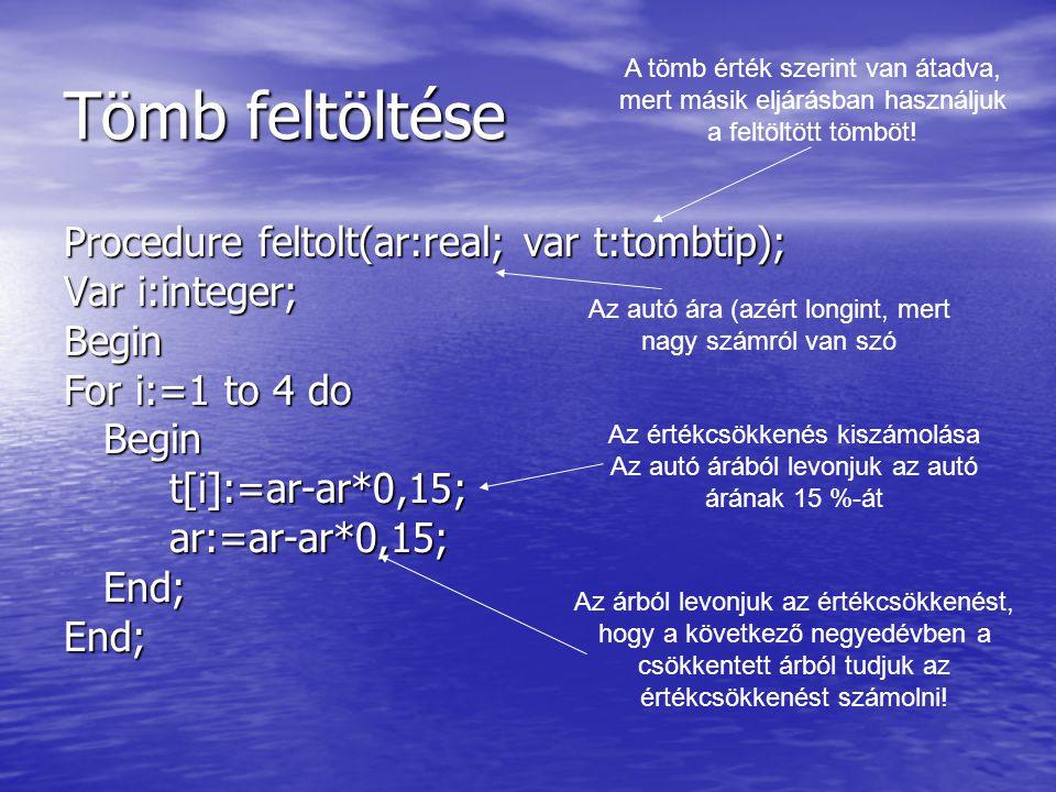 Tömb feltöltése Procedure feltolt(ar:real; var t:tombtip); Var i:integer; Begin For i:=1 to 4 do Begint[i]:=ar-ar*0,15;ar:=ar-ar*0,15;End;End; Az autó